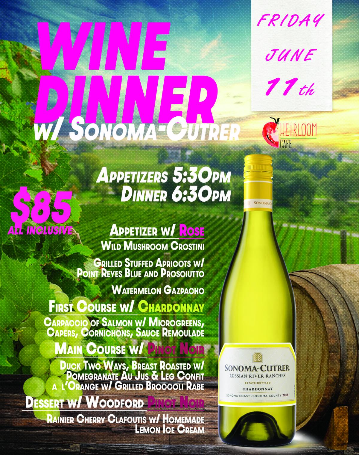 WINE DINNER w/ SONOMA CUTRER